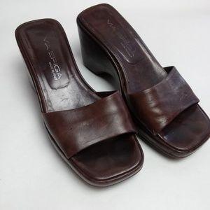Via Spiga Bron Leather Wedge Heel Sandals * 6.5M